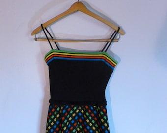 Vintage Women's Johnathan Logan Mod Maxi Dress Neon Geometric Designs