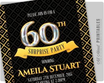 60th Birthday Invitation. Gold Diamond Birthday Party Invite. Adult Surprise Birthday. Elegant. DIY Printable Digital