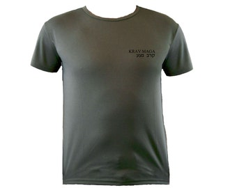Krav maga English/Hebrew moisture wicking polyester od green color t-shirt S-XL