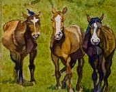 Brown Horses Watercolor Print. Horse painting. Watercolor art. Country decor. Horse wall art. Horse artwork. Horse picture. Cowboy decor.
