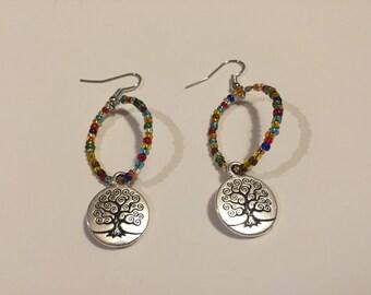 Tree of Life Chakra Hoop Earrings