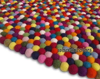Felt Ball Rug  Multicolored. (Free Shipment)