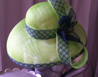 Green & Navy Sinamay hat