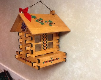 Beautiful well made square log cabin bird feeders assorted stains