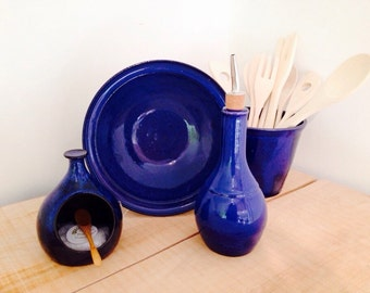 Salt cellar with spoon, salt pig, sea salt well, blue, cobalt, bamboo spoon