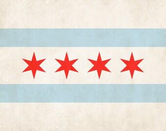 Chicago City Flag Illinois Wall Art Chicago Flag Print Chicago Flag Poster Art Home Decor
