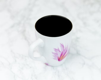 Hand painted oriental style pink and gold mug