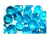25 Sparkly Faceted Glass Beads, 10mm, Capri Blue, Turquoise, Sparkly beads, multi faceted beads