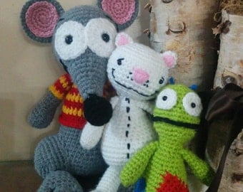 Handmade crochet Toopy, Binoo, and Patchy Patch