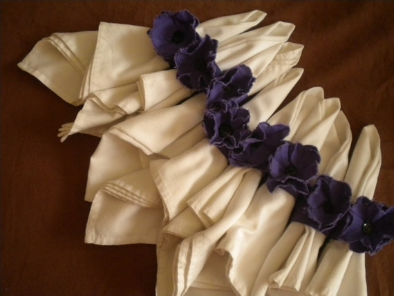 Purple Napkin Rings with Flowers