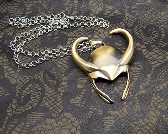 Loki necklace - Thor The Avengers Lokis Helmet Large pendant chain jewelry gift
