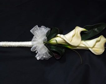 Artificial Cream Calla Lilly Wedding Bouquet Real touch flowers