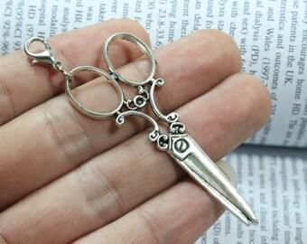 Scissors Charms, 60X25mm Antique Silver Tone Scissors Shape Pendants
