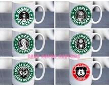 character ceramic coffee mug  jack, princess, frozen, elsa, maleficent, villian ariel tinkerbell 11oz