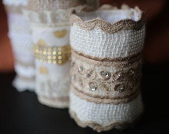 White Burlap Bouquet Wrap