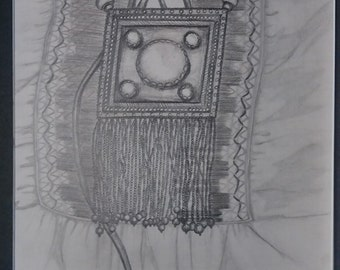 "original artwork, OOAK, graphite ""Adorned"""