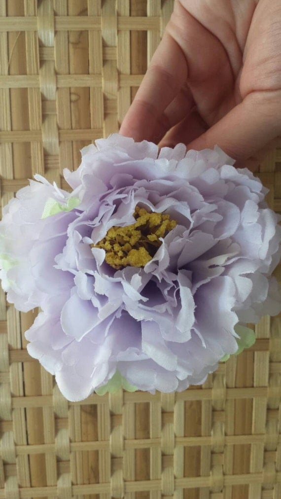 Lilac double peony flower hair clip