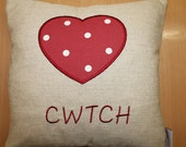 Handmade Cushion CoverCwtch Heart Cushion 14inchRed Dotty Linen.Decorative pillow cover Cushion Cover Only