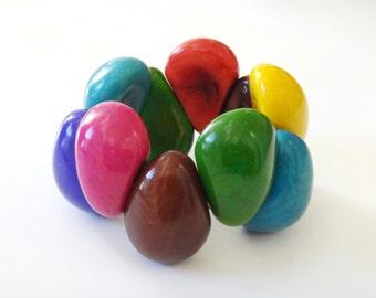 Tagua Bracelet, Multicolor Bracelet, Tagua Jewelry