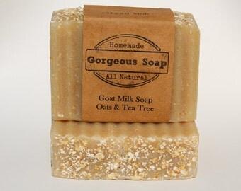 Oats & Tea Tree Goat Milk Soap - All Natural Soap, Handmade Soap, Homemade Soap, Handcrafted Soap