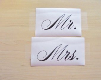 Mr. Mrs.  decal , wedding decal, wine glass decal, mug decal, tumbler sticker