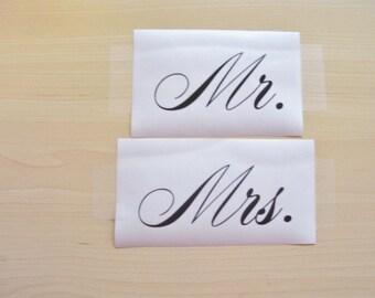 Mr. Mrs.  decal , wedding decal, wine glass decal, mug decal, tumbler sticker