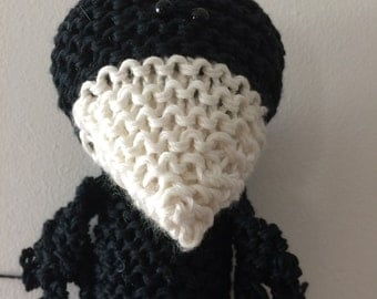 Mr Crow - designed & hand knitted from pure cotton.