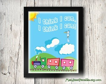 I Think I Can, I Think I Can, Nursery Art, Casey Jr, Dumbo, Baby's Room, Art Typography, 8 X 10 Print Wall Poster, INSTANT DOWNLOAD
