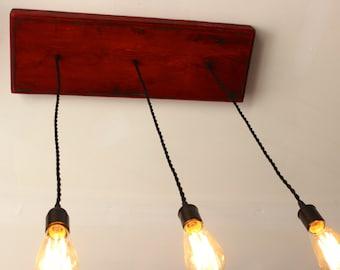 Edison Bulb Industrial Chandelier Distressed Red/Black Decorator Lights
