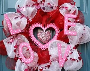 Valentine's Wreath, Hearts, Love, Conversation Hearts