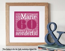 Personalised SIXTY Word Art - Printable Art - Word Art - 60th Birthday Gift - Custom Word Art - Personalised 60th Gift - Personalised Gift