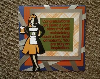 funny beer maid birthday card