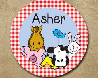 Farm Plate, On the Farm, Farmer and the Dell, Kids Melamine Plate, Personalized Dinner Plate, Custom Plastic Plate, Red Gingham