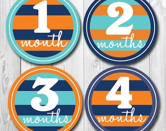 Baby Monthly Stickers for boys, Orange and Teal, Months 1-12