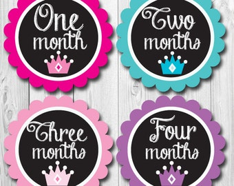 Princess Crown Monthly Baby Stickers, Baby Photo Month Stickers, Months 1-12, Girl Month Stickers, Baby Shower Gift, Milestone Stickers