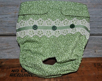 Dog diaper. Dog in season diaper. Dog panty. Green Vintage  Floral. X-Large.