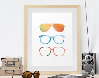 Three Glasses Hipster Colorful Pattern Art Print Poster Digital Art Print Wall Decor - Dorm Room Art - Baby Room - Wall Art for Kids Room