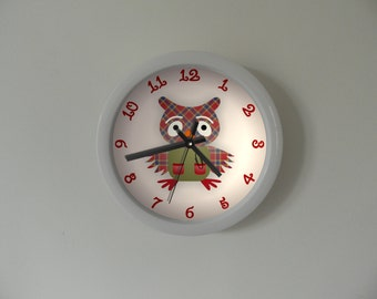 Bashful owl clock, Clock for children. Kids room, white frame clock, colorfoul wall clock, modern wall clock, perfect gift.
