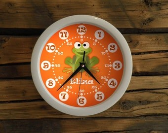 Cute little green frog wall clock, Clock for children. Kids room, white frame clock, colorfoul wall clock, modern wall clock, perfect gift.