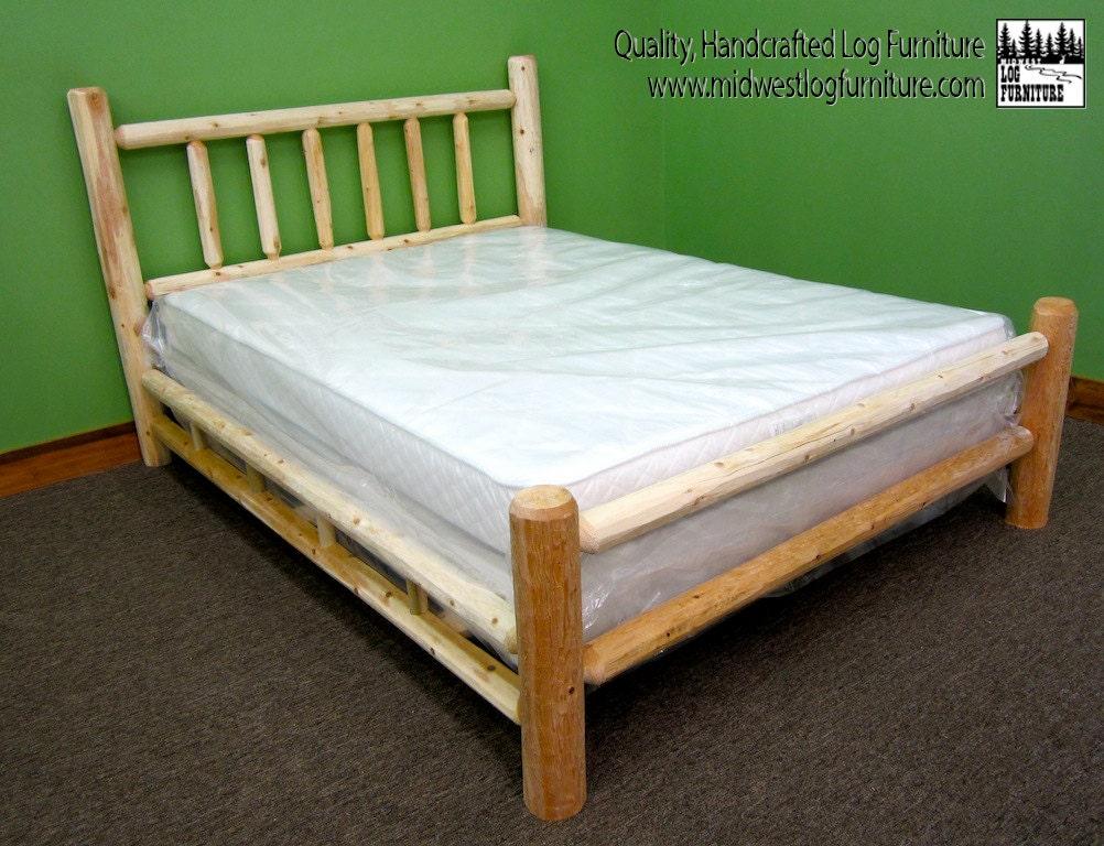 handcrafted log bed double log side rails. Black Bedroom Furniture Sets. Home Design Ideas
