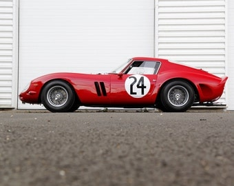 Poster of Ferrari 250 GTO Le Mans Classic Left Side Red Race Car HD Print