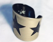 Upcycled Vinyl Record Cuff withTriple Star Design- Champagne Stencil on Black Vinyl