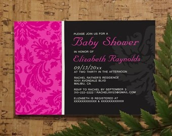 Pink Damask Baby Shower Invitation Template| Girl Baby Shower Invitations | Boy Baby Shower Invites | Printable, Digital PDF, DIY Printed