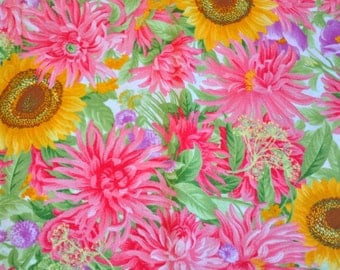 Fabric destash quilt cotton 1 yard Jocelyn Sentimental Studio for Moda Wild Pink floral with Sunflowers