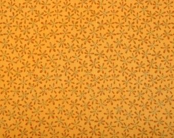 Fabric destash quilt cotton 1 yard Cafe au Lait Flowers with gold flecks on Gold background