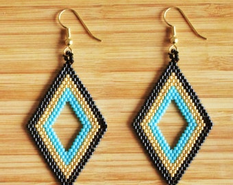 Diamond beads miyuki turquoise, black and gold ties shape earrings gold plated