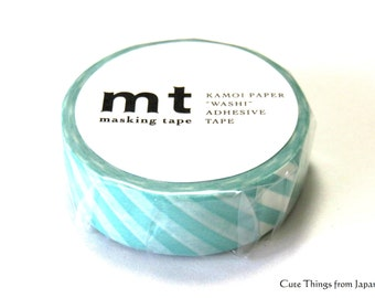 mt Mint Green Stripes Washi Tape, Masking Taoe, 1.5cm x 10m (0.6 inch x 11 yards) [MT01D244]