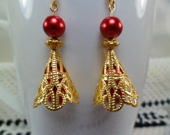 Red Pearl and Filegree Gold Cone Drop Earrings, Pearl Earrings, Dangle Earrings Red Earrings