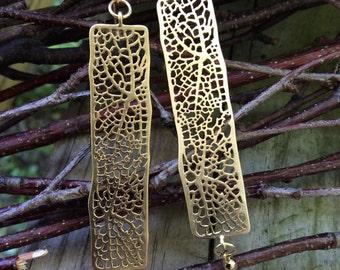 Rectangle gold matte dangle earrings