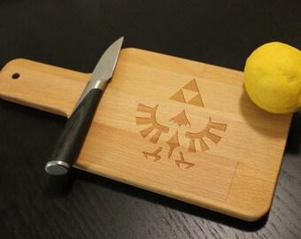 "The Legend of Zelda Triforce Emblem Cheese Sushi Cutting Chopping Board for Him Mancave Geek Gamer Lover 6"" x 12"""